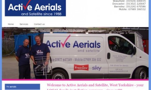 Active Aerials, based in pontefract, serving Wakefield, Castleford, Doncaster and Barnsley for all your aerial and satellite requirements.